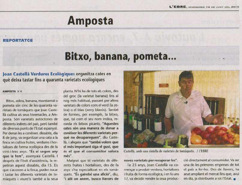 Verdures Ecològiques Joan Castellà > <b>NOTÍCIES</b> > Entrevista a la publicació setmanal L´Ebre